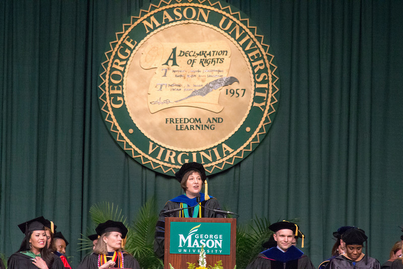 Deborah Boehm-Davis, Dean of the College of Humanities and Social Sciences and Professor of Psychology, College of Humanities and Social Sciences convocation at the Patriot Center on George Mason University Fairfax campus. Photo by Craig Bisacre/Creative Services/George Mason University