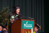 Angela Goff, BA Communication '01, Broadcast Journalist, WRC-TV, Washington, D.C., Author OhMyGoff blog, speaks during the College of Humanities and Social Sciences convocation at the Patriot Center on George Mason University Fairfax campus. Photo by Craig Bisacre/Creative Services/George Mason University