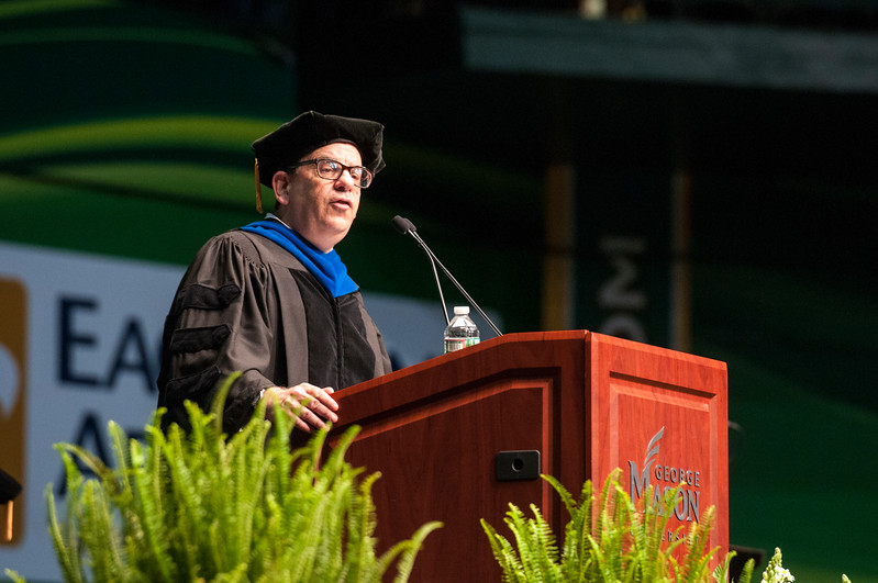 Robert Matz, Senior Associate Dean, speaks during the College of Humanities and Social Sciences I Degree Celebration.  Photo by Bethany Camp/Creative Services/George Mason University