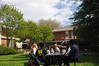 Social Work students in Kathy Prudden's class meet outdoors.
