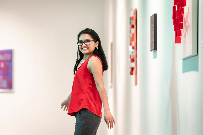 Noelia Montecinos-Beltran is an art history major whose goal is to become a curator at a museum. With the help of the Unpaid Internship Scholarship, she is currently interning with Mason Exhibitions.  Photo by:  Ron Aira/Creative Services/George Mason University