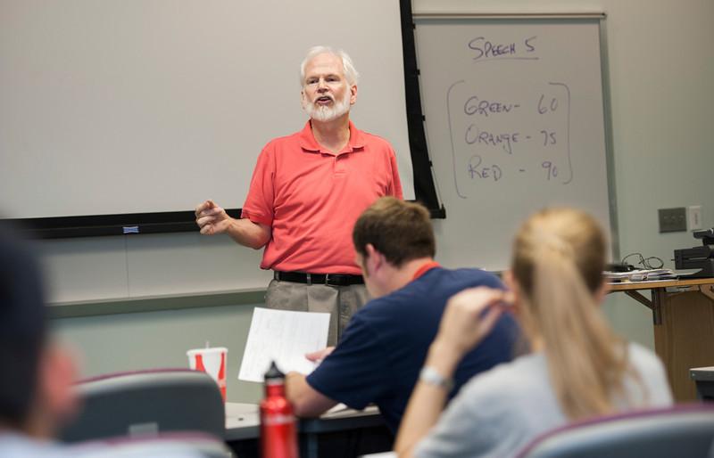 Professor Andrew Finn teaches COMM 100, Public Speaking, at Fairfax Campus. Photo by Alexis Glenn/Creative Services/George Mason University