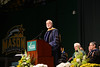 Secretary G. Wayne Clough delivers the convocation address at the College of Humanities and Social Sciences Graduate Convocation 2012. Photo by Evan Cantwell/Creative Services/George Mason University