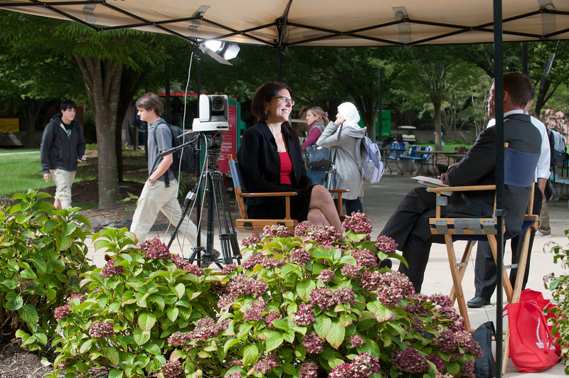 "110916505 - Johanna Bockman, GMU Associate Professor, Sociology & Anthropology, is interviewed by CSPAN's Book TV about her book ""Markets in the Name of Socialism: The Left-Wing Origins of Neoliberalism"" outside the Fenwick Library, Fairfax Campus."