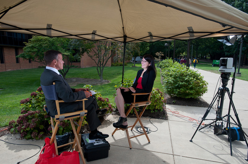 """110916502 - Johanna Bockman, GMU Associate Professor, Sociology & Anthropology, is interviewed by CSPAN's Book TV about her book """"Markets in the Name of Socialism: The Left-Wing Origins of Neoliberalism"""" outside the Fenwick Library, Fairfax Campus."""