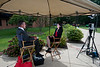 "110916502 - Johanna Bockman, GMU Associate Professor, Sociology & Anthropology, is interviewed by CSPAN's Book TV about her book ""Markets in the Name of Socialism: The Left-Wing Origins of Neoliberalism"" outside the Fenwick Library, Fairfax Campus."