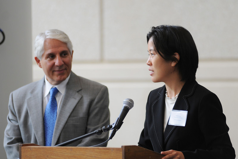 100811129e - Cynthia Lum, Deputy Director of the Center for Evidence-Based Crime Policy, and David Weisburd, Director of the Center for Evidence-Based Crime Policy address the crowd at the 2nd Annual CEBCP Symposium.