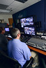 GMU-TV staff operate behind the scenes during Professor Robert Lichter's Communications class broadcasting C-SPAN's Washington Classroom program. Photo by Evan Cantwell/George Mason University