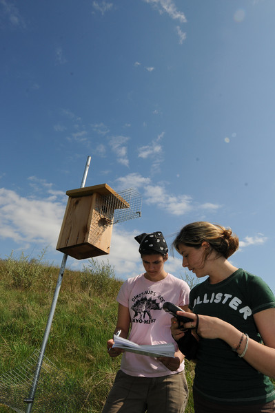 New Century College students conduct bird research during Smithsonian-Mason School of Conservation in Front Royal, VA.  Photo by Evan Cantwell/Creative Services/George Mason University