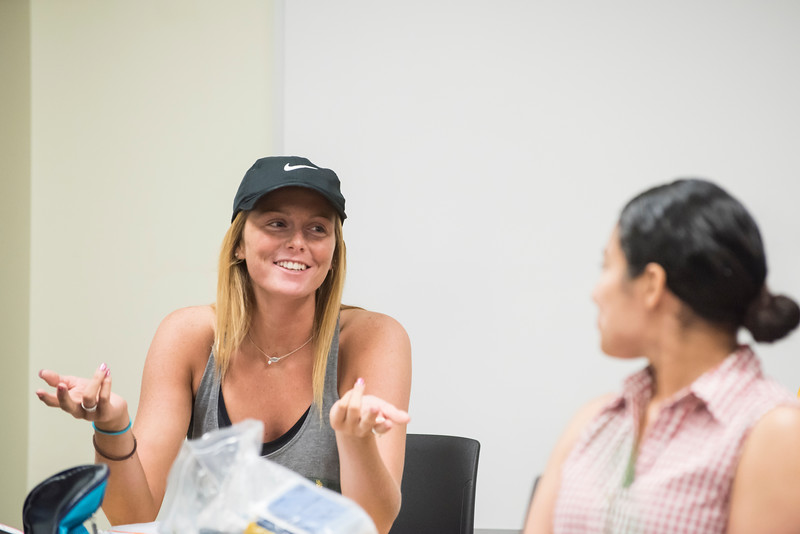 Kelly Dunne teaches Images and Experiences of Childhood class.  Photo by:  Ron Aira/Creative Services/George Mason University
