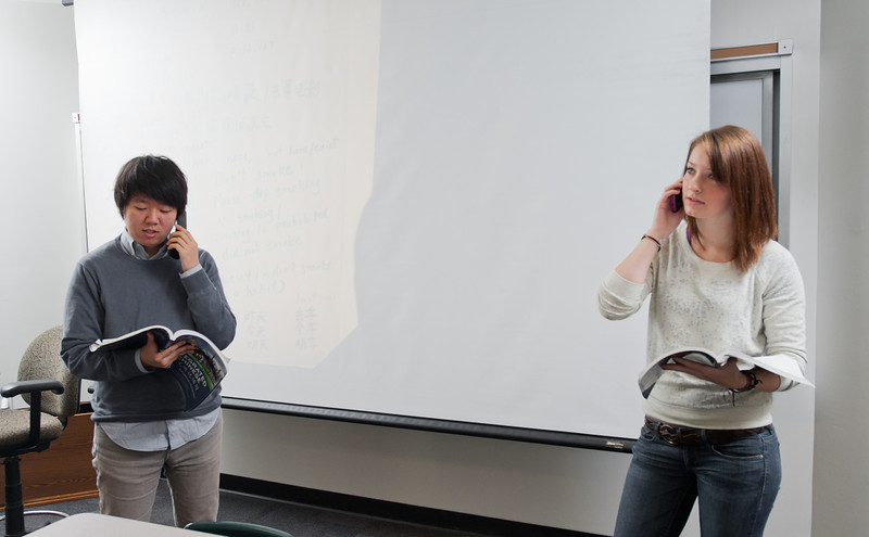 Students of Professor Xu Wang participate in a language exercise in an Elementary Chinese class at Enterprise Hall at Mason's Fairfax Campus.