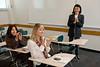 Professor Xu Wang teaches a language course, Elementary Chinese, at Enterprise Hall at Mason's Fairfax Campus.