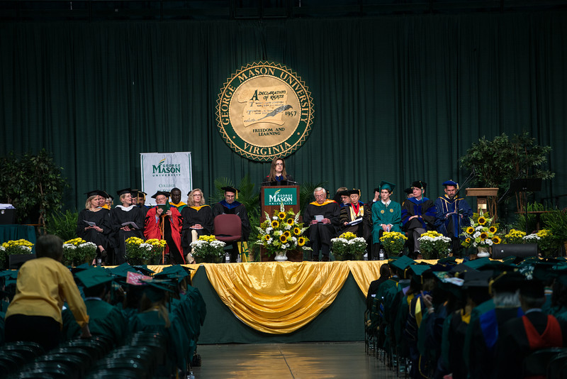 Dean of the College of Science Convocation, Peggy Agouris, speaks during the College of Science Convocation. Photo by Evan Cantwell/Creative Services/George Mason University