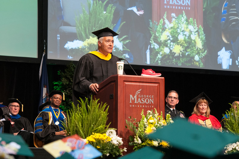 Alfred Grasso, Immediate Past President and Chief Executive Officer of The MITRE Corporation give the degree celebration address during the College of Science Degree Celebration.  Photo by Bethany Camp/Creative Services/George Mason University