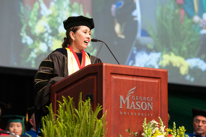 Donna M. Fox, Associate Dean for Students Affairs and Special Programs, gives opening remarks during the<br /> College of Science Degree Celebration.  Photo by Bethany Camp/Creative Services/George Mason University