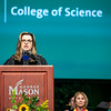 Dean Peggy Agouris welcomes students to the College of Science Degree Celebration.  Photo by:  Ron Aira/Creative Services/George Mason University