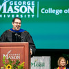 Director of Emergency General Surgery at John Hopkins Hospital Joseph Sakran addresses students during the College of Science Degree Celebration.  Photo by:  Ron Aira/Creative Services/George Mason University
