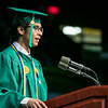 Graduate Jorge Fernandez Davila, receiving a Bachelor of Science in Biology, addresses students during the College of Science Degree Celebration.  Photo by:  Ron Aira/Creative Services/George Mason University