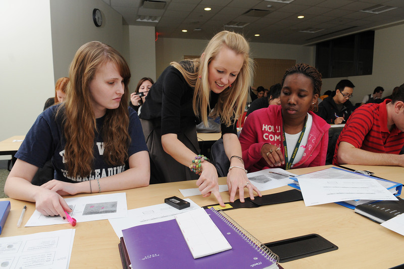 Jocelyn Prendergast, Assistant Professor teaching (left to right) Junior Jennifer Lewaine and Freshman Shaunteace Mazyck electrostatic lifting of fingerprint impressions in her Introduction to Criminalistics class.