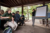 Research Assistant Megan Draheim speaks to students and faculty of the Smithsonian-Mason Semester for Conservation Studies program as they participate in an urban entomology lab field trip to Rock Creek Park in Washington DC. Photo by Alexis Glenn/Creative Services/George Mason University