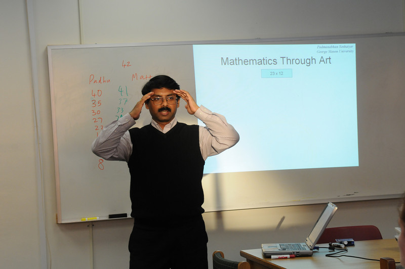 Seshaiyer , 100219076, Professor Padmanabhan Seshaiyer teaching mathematics in Living Learning Community
