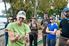 110922536 - Kim DeMutsert, Assistant Professor, Biocomplexity and Ecology, speaks to Smithsonian-Mason Semester for Conservation Studies program students about fish collected in a fish trawl as they participate in a watershed conservation and management field trip to Gunston Cove at Pohick Bay Regional Park in Virginia. Photo by Alexis Glenn/Creative Services/George Mason University