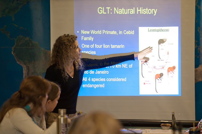 Jennifer Mickelberg, PhD, Golden Lion Research Scientist and Studbook Keeper, Center for Conservation and Evolutionary Genetics, Smithsonian Conservation Biology Institute, gives a presentation to students of the Smithsonian-Mason Semester for Conservation Studies program as they visit the Smithsonian National Zoological Park in Washington DC. Photo by Evan Cantwell/Creative Services/George Mason University