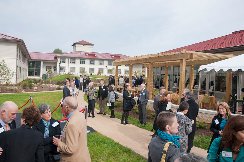 Honored guest, faculty and staff gather at the Smithsonian-Mason School of Conservation Facility Dedication Ceremony at Front Royal, Virginia on October 18, 2012.  Photo by Creative Services/George Mason University