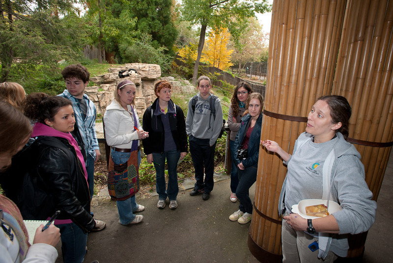 Brandie Smith (R), Senior Curator, Asia Trail and Giant Pandas, Center for Animal Care Sciences, National Zoological Park, speaks to students of the Smithsonian-Mason Semester for Conservation Studies program as they visit the Smithsonian National Zoological Park in Washington DC.
