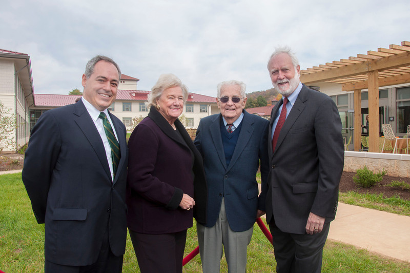 President Angel Cabrera, Adrienne Mars, G.T. Halpin, and Wayne Clough  at the Smithsonian-Mason School of Conservation Facility Dedication Ceremony at Front Royal, Virginia on October 18, 2012.  Photo by Creative Services/George Mason University