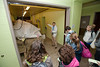 Tony Barthel (C), Curator of Cheetah Conservation Station and Elephant Trails, Center for Animal Care Sciences, National Zoological Park, shows a food storage area for the Zoo's elephants, to students of the Smithsonian-Mason Semester for Conservation Studies program as they visit the Smithsonian National Zoological Park in Washington DC.