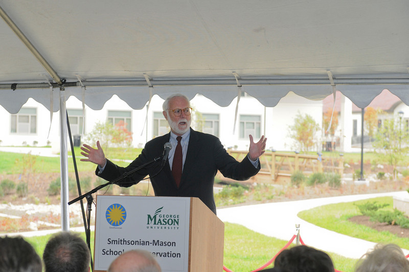 Wayne Clough, Secretary of Smithsonian Institution, speaks to  <br /> honored guest, faculty and staff  at the Smithsonian-Mason School of Conservation Facility Dedication Ceremony at Front Royal, Virginia on October 18, 2012.  Photo by Creative Services/George Mason University