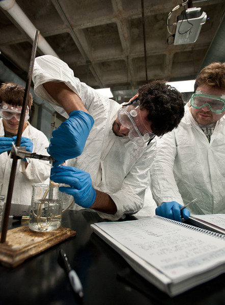 Students work in a chemistry lab.  Photo by Alexis Glenn/Creative Services/George Mason University