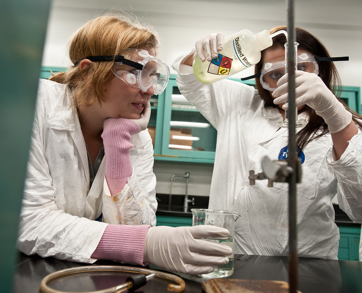 111012501 - Students work in a chemistry lab.  Photo by Alexis Glenn/Creative Services/George Mason University