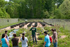 Students enrolled in Dr. Changwoo Ahn's Ecological Sustainability course get hands-on experience planting wetland plants.