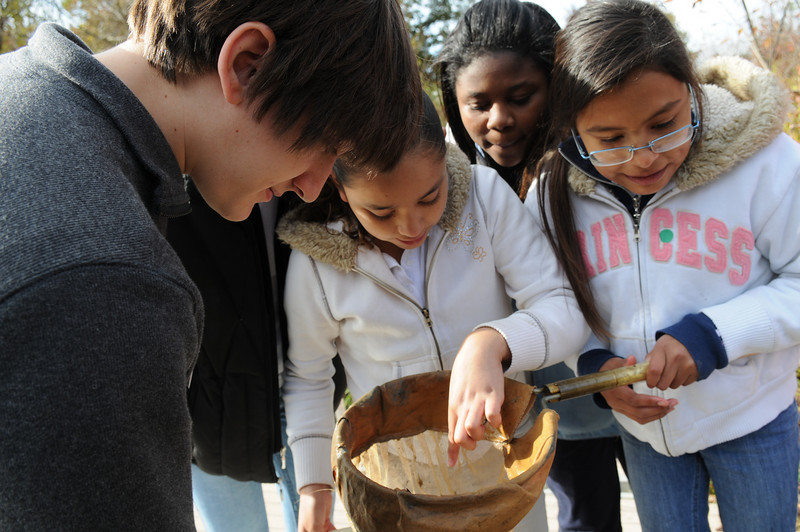 Prince William County School District students with Dann Sklarew at the Wildlife Refuge (ONWR). Photo by Evan Cantwell, George Mason University