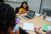 Girls at the STEM-FOCUS camp learn about coding and app development. With the help of undergraduate students, they are able to practice making their own apps using the coding information that they have learned.  Photo by Bethany Camp / Creative Services / George Mason University