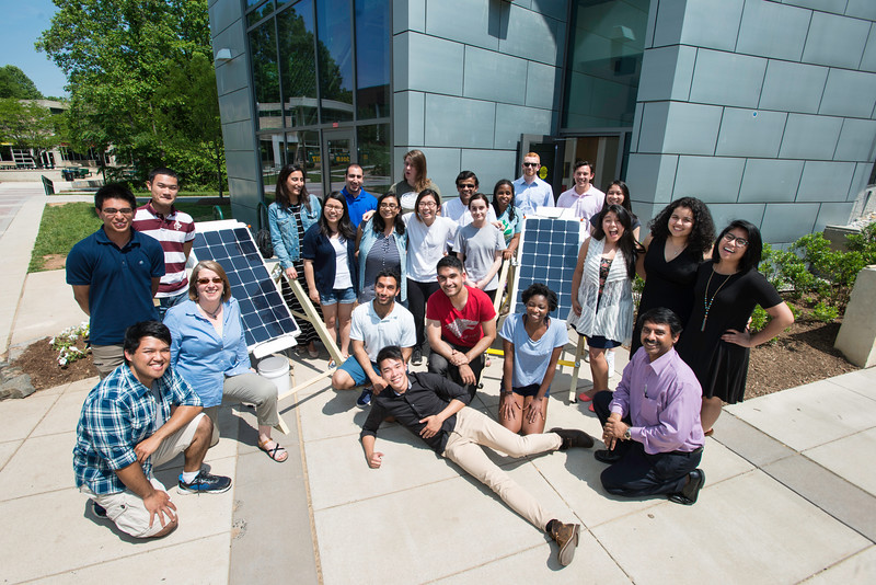 Mason Students building Solar Panels.   Photo by Ron Aira/Creative Services/George Mason University