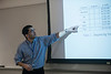 "Systems Biology graduate student, Parsa Hosseini, presents his research on ""The defense response landscape of phytohormone-treated soybean (Glycine max) roots"" in class. Photo by Evan Cantwell/Creative Services/George Mason University."
