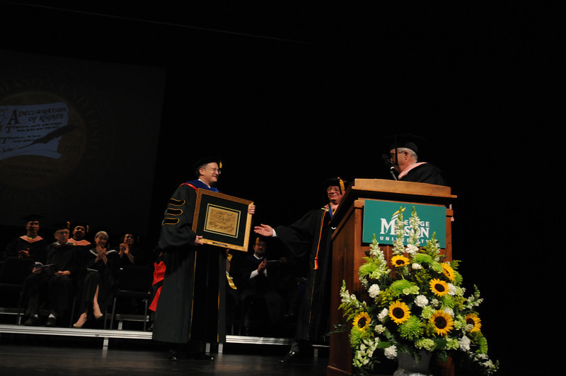 CVPA Patron of the Year Award presentation to Edward L. Weiner at the College of Visual and Performing Arts Convocation 2012. Photo by Evan Cantwell/Creative Services/George Mason University