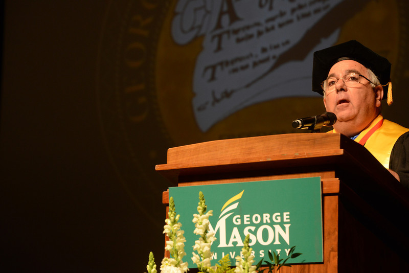 Richard Kamenitzer, Program Director, Master of Arts Management, speaks at the College of Visual and Performing Arts Convocation 2012. Photo by Evan Cantwell/Creative Services/George Mason University