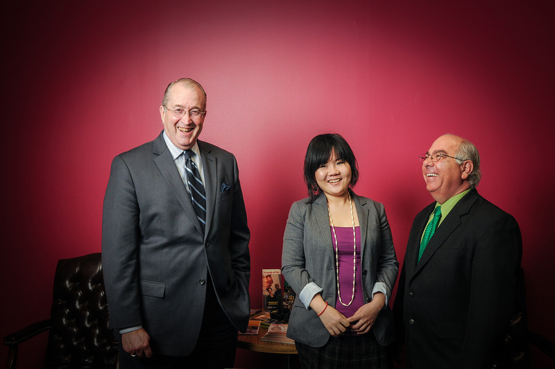 "Dean Reeder, Xue ""Anqi"" and Richard Kamenitzer.  Photo by Evan Cantwell/Creative Services/George Mason University"
