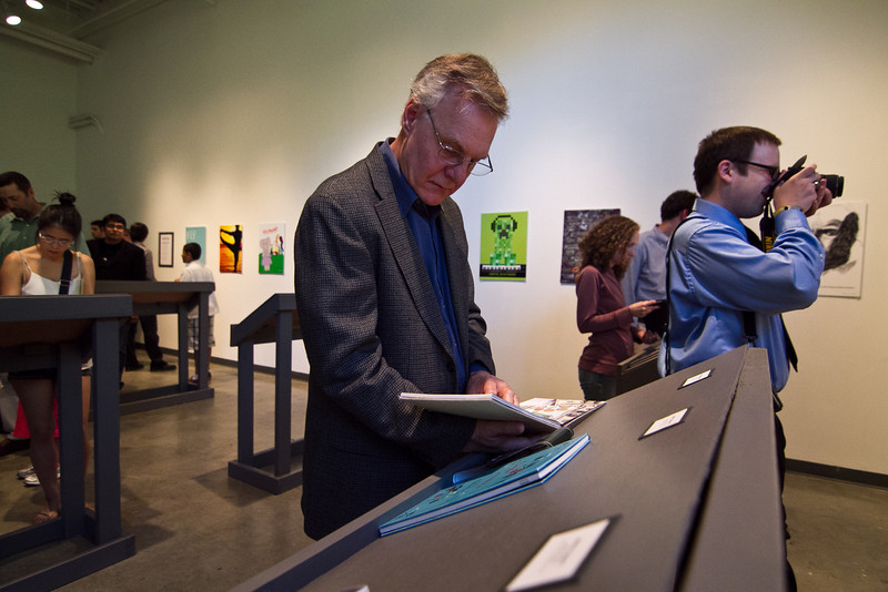 Students display their senior final art exhibits in the Art and Design Building on the Fairfax campus.