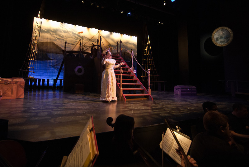 Students rehearse for the Mason Opera's presentation of Gilbert & Sullivan's H.M.S. Pinaforce.