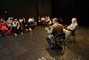 Actor Stacy Keach (R) speaks at a College of Visual and Performing Arts Masterclass, moderated by Professor Ed Gero, at the Black Box Theater at Fairfax Campus. Photo by Alexis Glenn/Creative Services/George Mason University