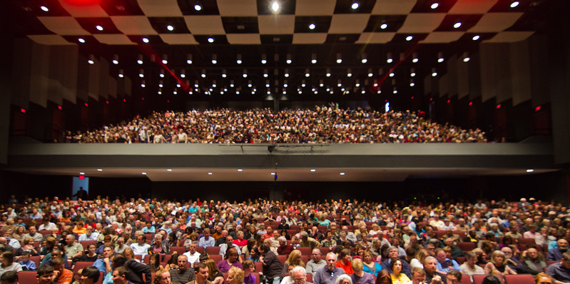 Audience prior to a TAO performance at the Center for the Arts Concert Hall.  Photo by Creative Services/George Mason University