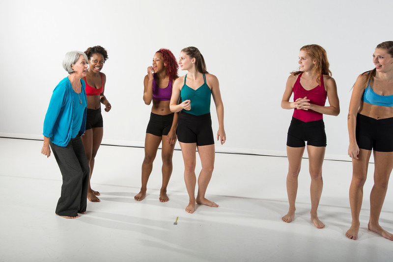 School of Dance students pose for 2012 calendar and brochure on the Center for Fine Arts stage. Photo by Alexis Glenn/Creative Services/George Mason University