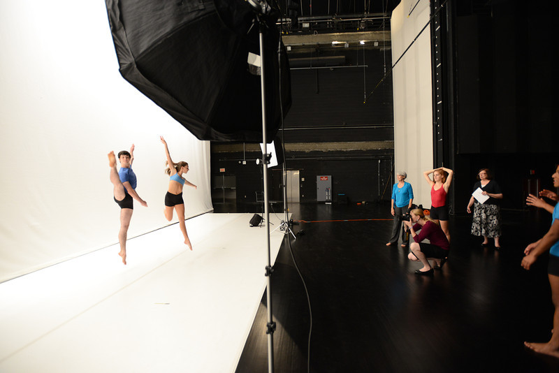 School of Dance students pose for 2012 calendar and brochure on the Center for Fine Arts stage. Photo by Evan Cantwell/Creative Services/George Mason University