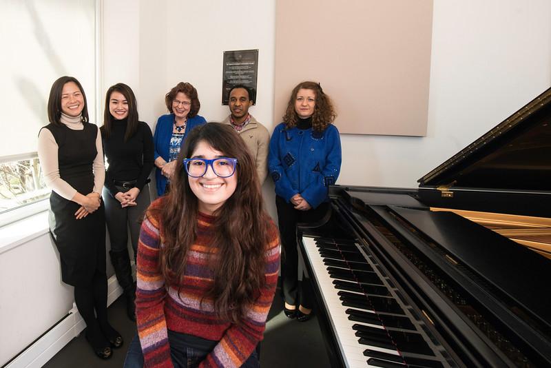 Dr. Monson's piano class. Photo by:  Ron Aira/Creative Services/George Mason University