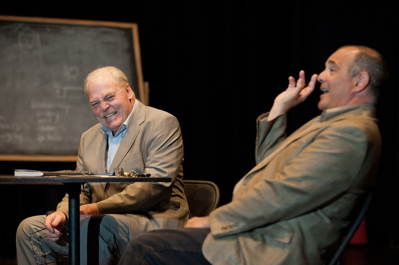 Actor Stacy Keach (L) speaks at a College of Visual and Performing Arts Masterclass, moderated by Professor Ed Gero, at the Black Box Theater at Fairfax Campus. Photo by Alexis Glenn/Creative Services/George Mason University